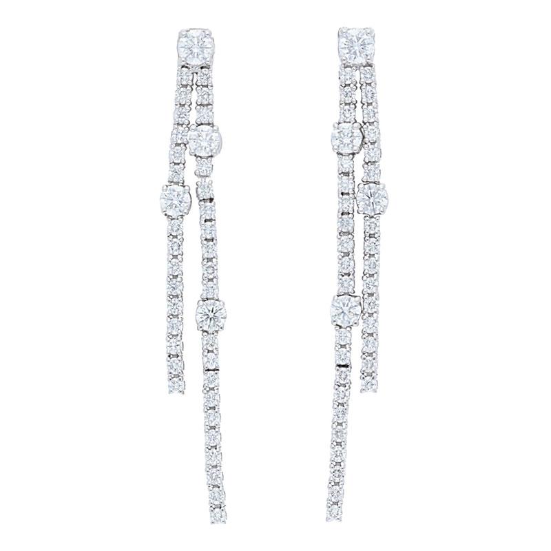 Deutsch Signature 2 Row Diamond Drop Studs Earrings