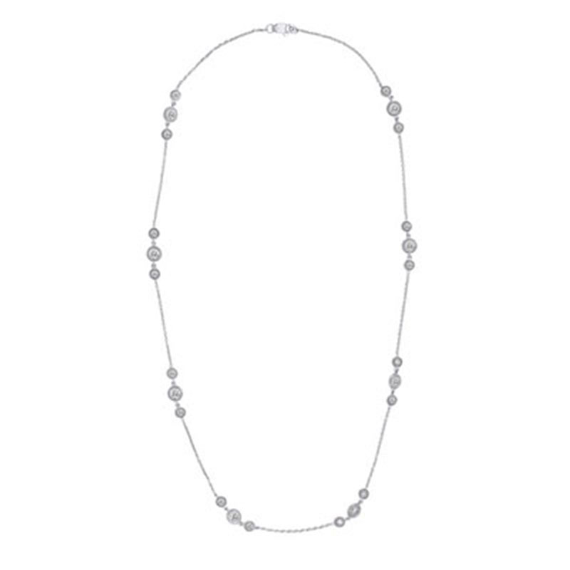 Deutsch Signature Alternating 3 Milgrain Bezel Diamonds by the Yard Necklace