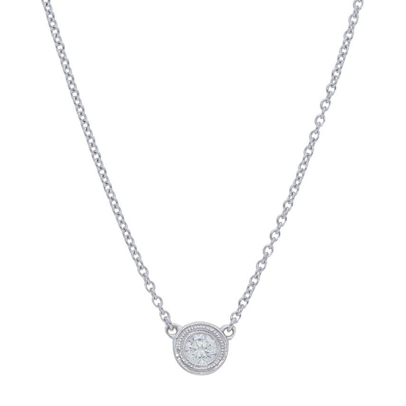 Deutsch Signature Single Milgrain Bezel Diamonds by the Yard Necklace