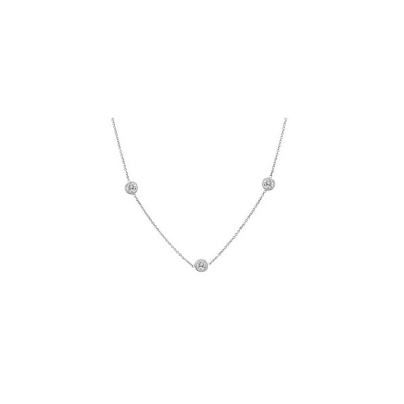 Deutsch Signature 3 Milgrain Bezel Diamonds by the Yard Necklace