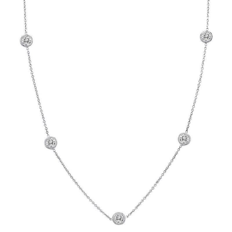 Deutsch Signature 5 Milgrain Bezel Diamonds by the Yard Necklace
