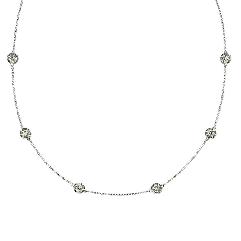 Deutsch Signature 6 Milgrain Bezel Diamonds by the Yard Necklace