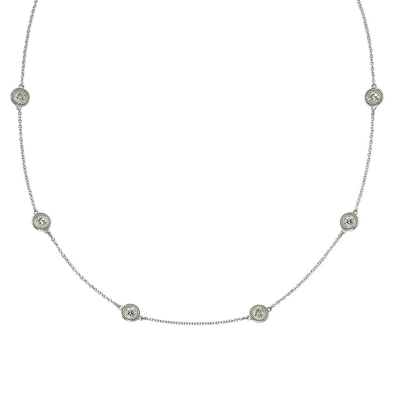 Deutsch Signature 6 Milgrain Bezel Diamonds by the Yard Necklace