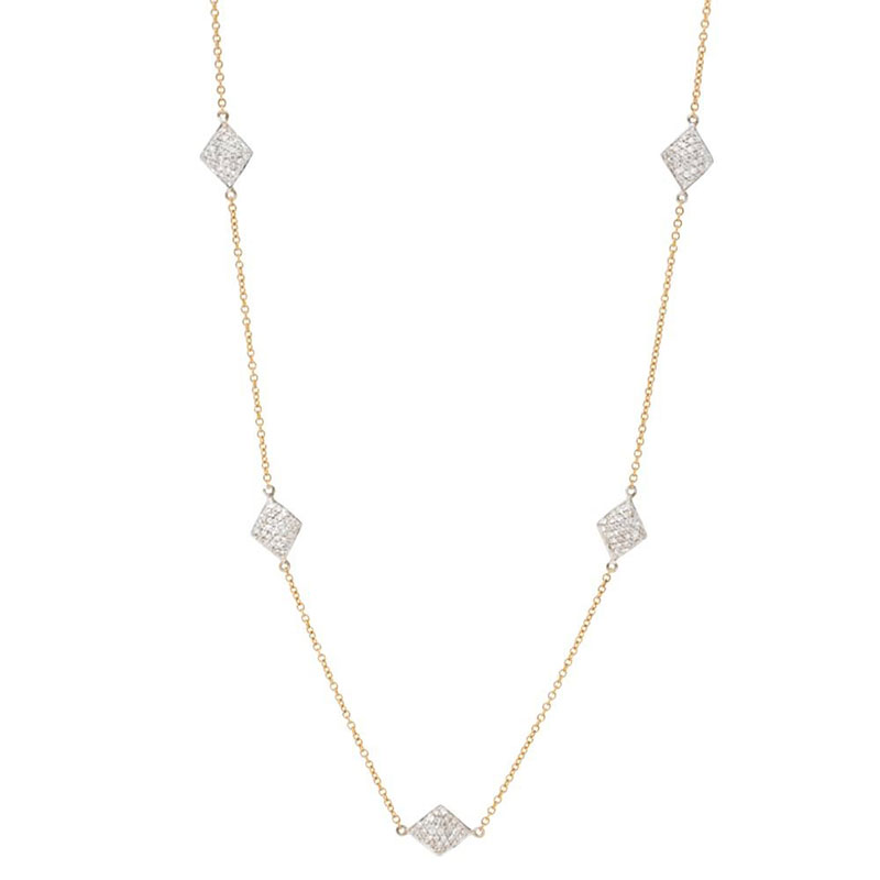 Deutsch Signature Small Diamond Shape Pave Station Necklace