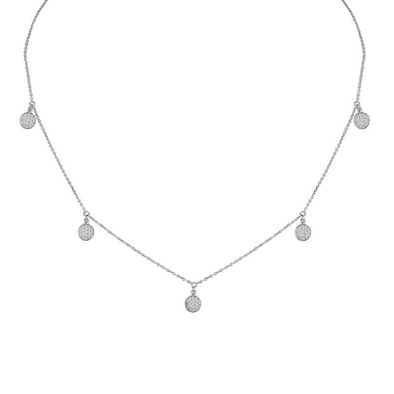 Deutsch Signature 5 Diamond Pave Disc Dangles Necklace
