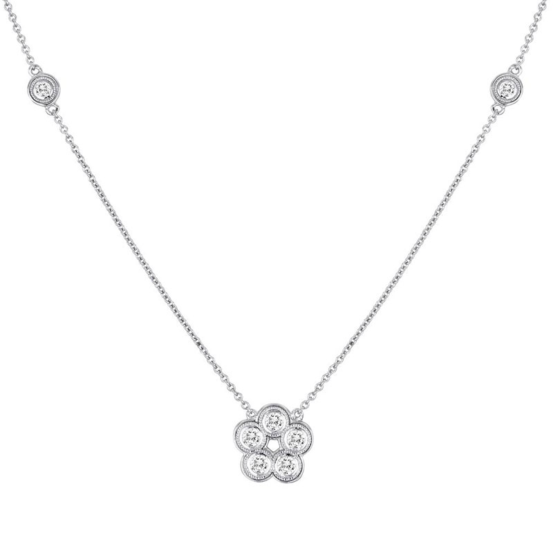 Deutsch Signature Milgrain Bezel Diamond Flower and 2 Milgrain Bezel Diamonds Necklace
