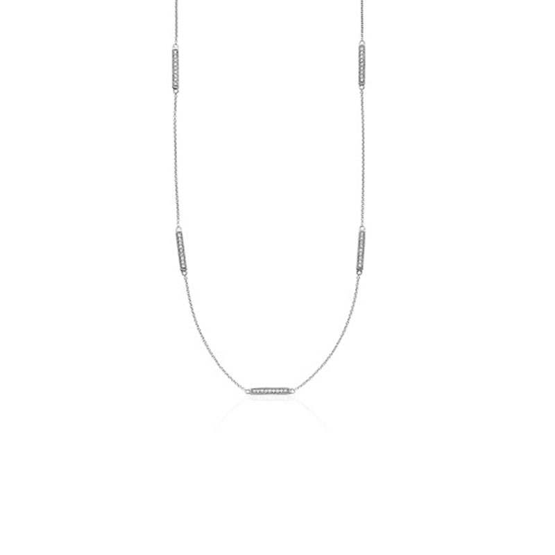 Deutsch Signature Alternating Diamond Bar Necklace