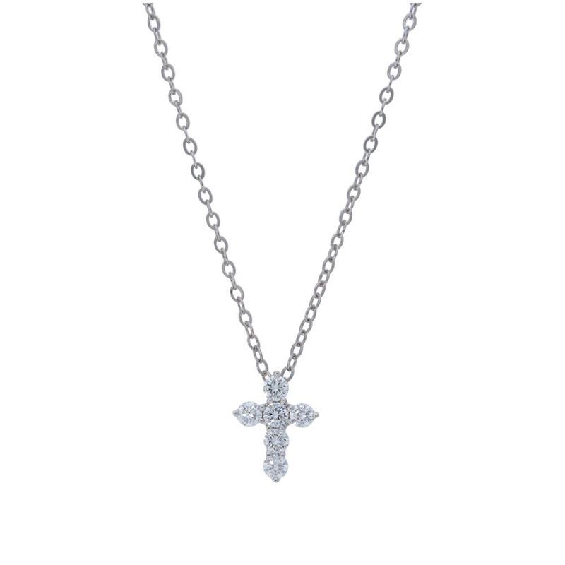 Deutsch Signature 6 Diamond Shared Prong Cross Pendant