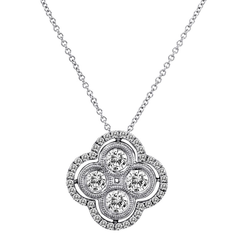 Deutsch Signature 4 Milgrain Bezel Diamond Cluster with Pave Border Pendant