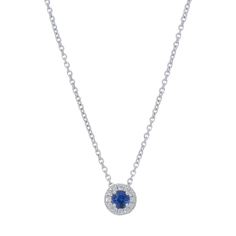 Deutsch Signature Blue Sapphire Diamond Halo Pendant