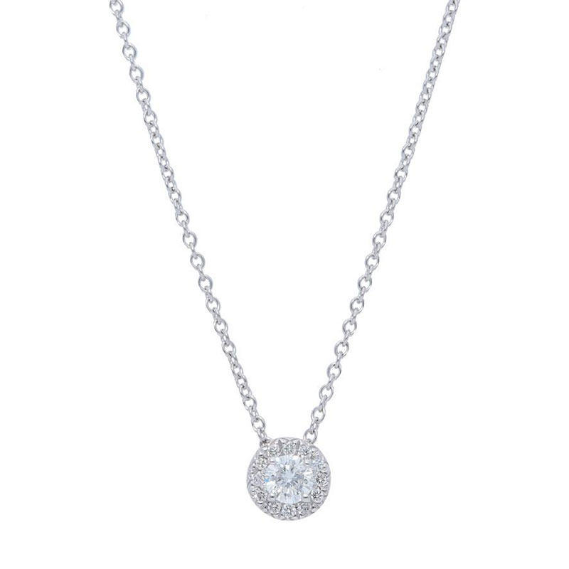 Deutsch Signature Diamond Halo Pendant, 3.5mm Center