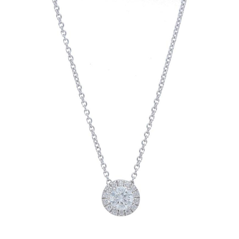 Deutsch Signature Diamond Halo Pendant, 4.5mm Center