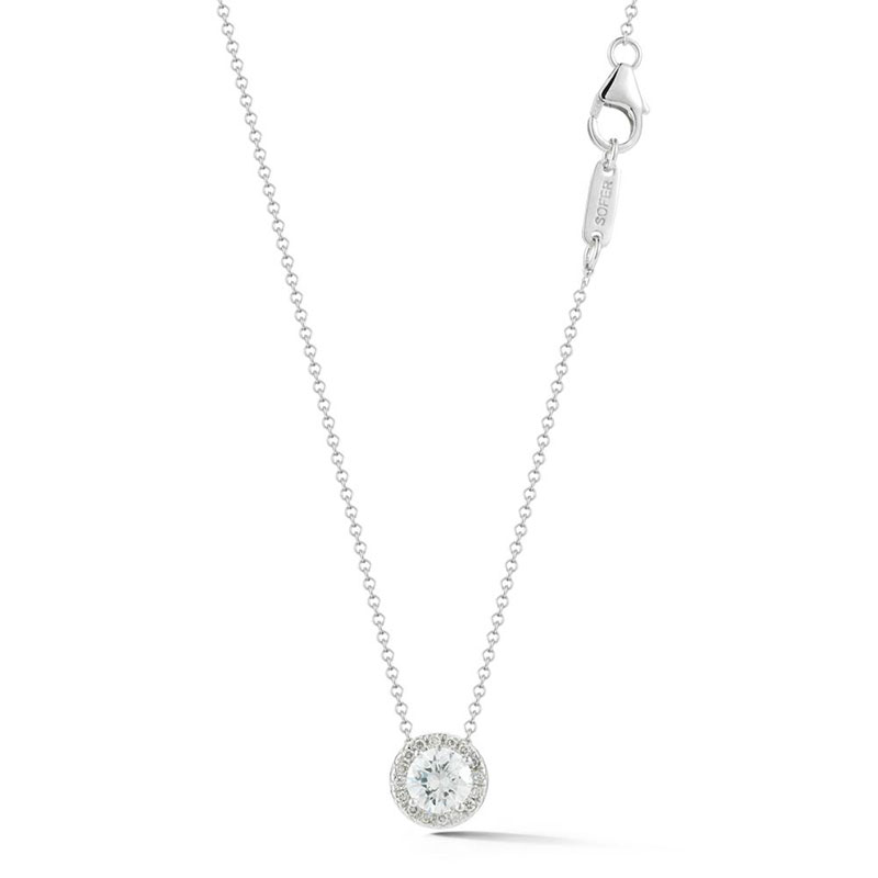 Deutsch Signature Diamond Halo Pendant, 5.1mm Center