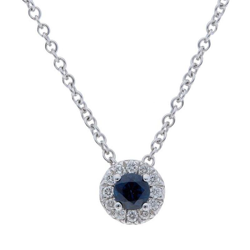 Deutsch Signature Blue Sapphire Diamond Halo Pendant