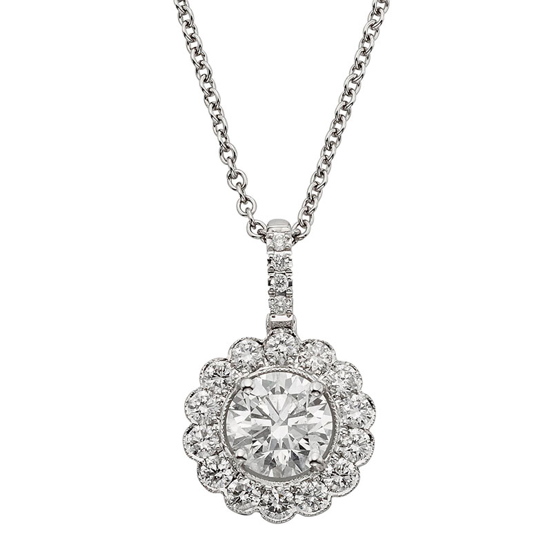 Deutsch Signature Diamond Flower Halo Pendant, 4.6mm Center