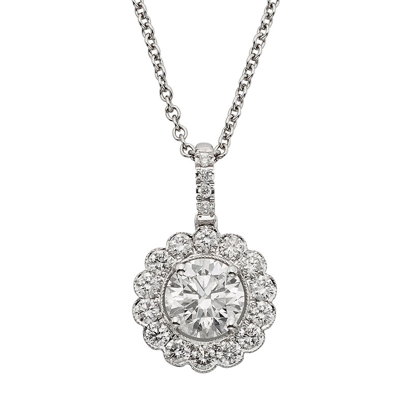 Deutsch Signature Diamond Flower Halo Pendant, 6.7mm Center