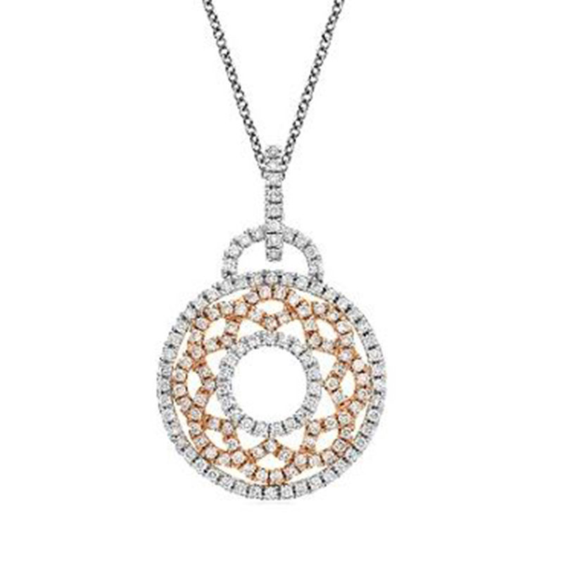 Deutsch Signature Two Tone Open Pave Diamond Circle Pendant