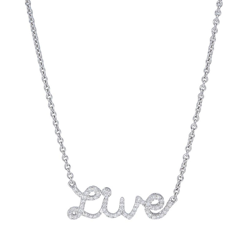 Deutsch Signature Diamond Script Live Necklace