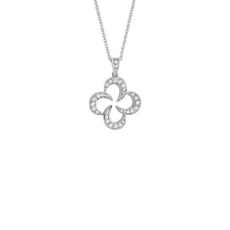 Deutsch Signature Swirly Open Diamond Clover Pendant