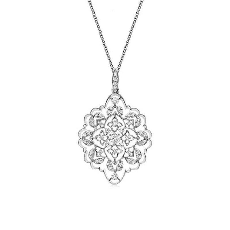 Deutsch Signature Antique Diamond Pendant with Milgrain Border