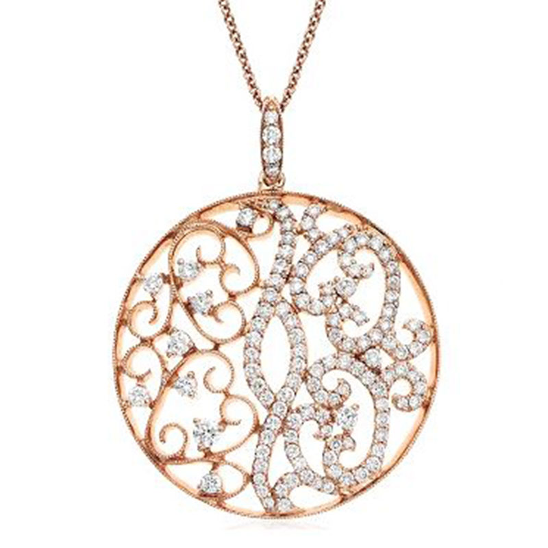 Deutsch Signature Diamond Swirly Medallion Pendant