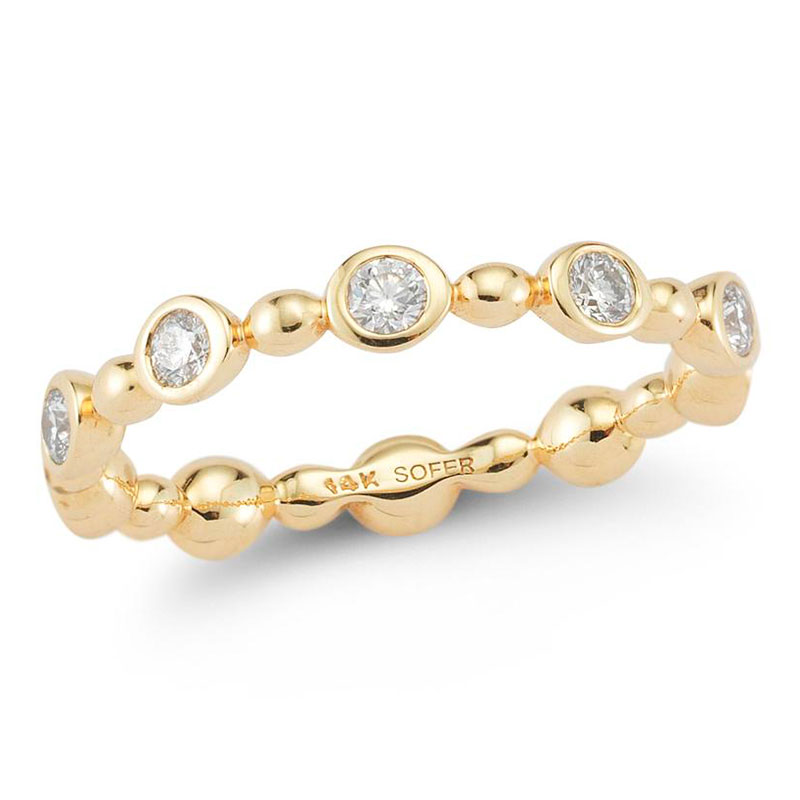 Deutsch Signature Alternating Diamond Bezel and Polished Balls Ring