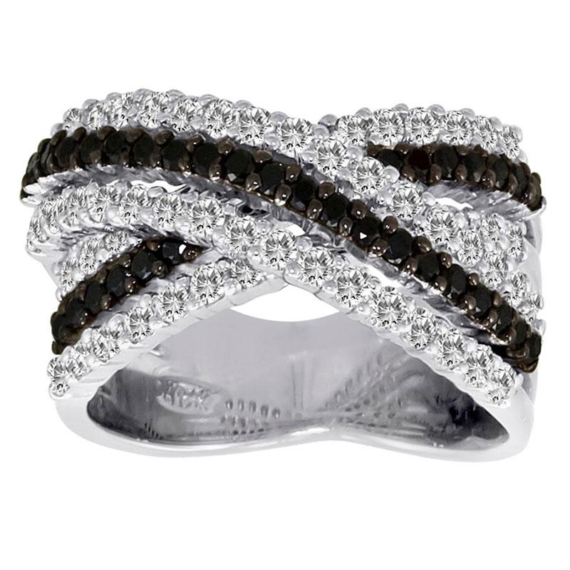 Deutsch Signature 3 Row Black and White Diamond Criss-Cross Ring