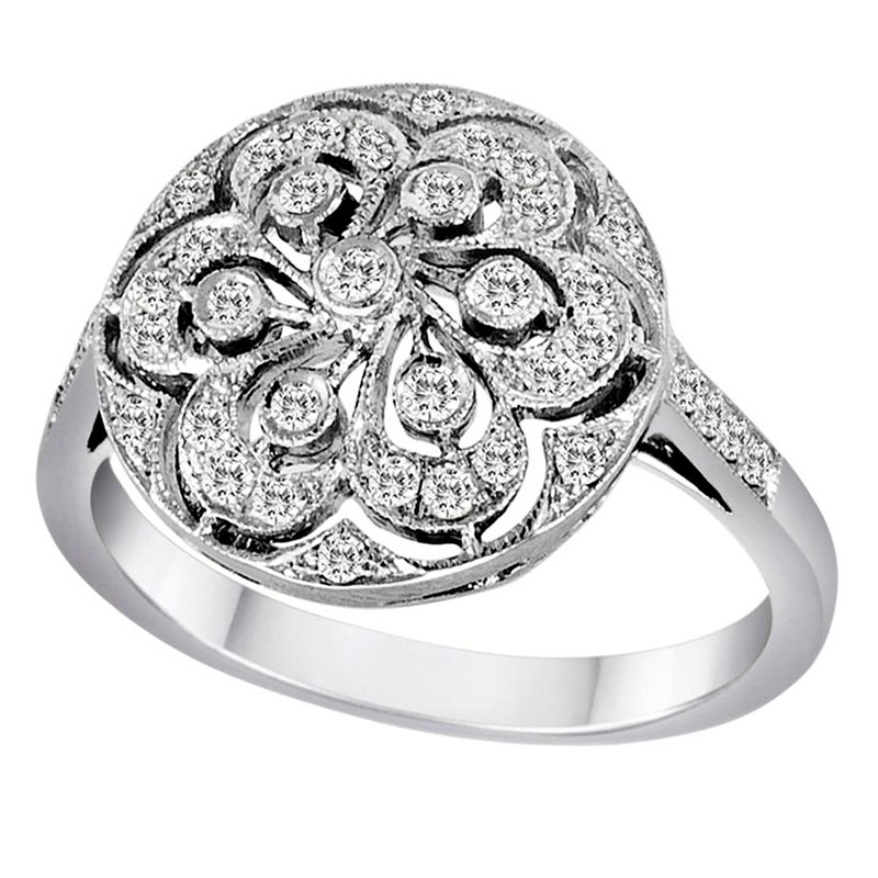 Deutsch Signature Diamond Flower Round Ring
