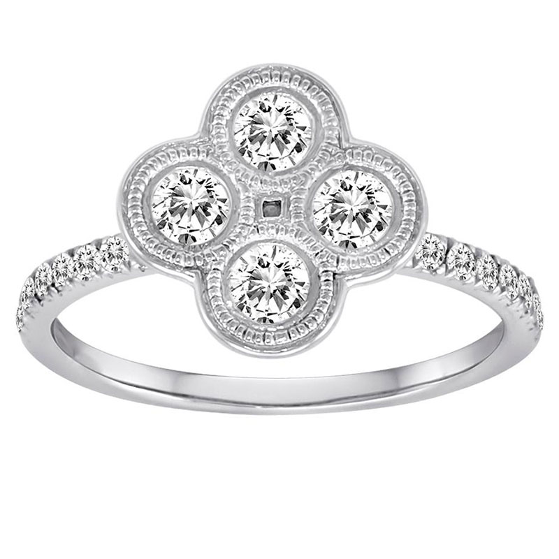 Deutsch Signature 4 Diamond Milgrain Bezel Cluster with Pave Ring
