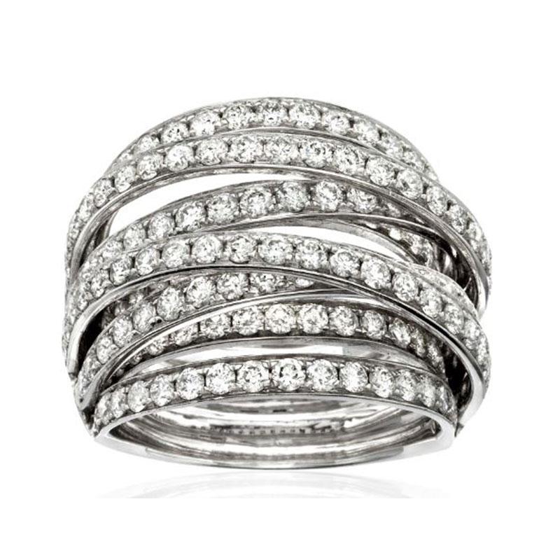 Deutsch Signature Domed Diamond Crossover Ring