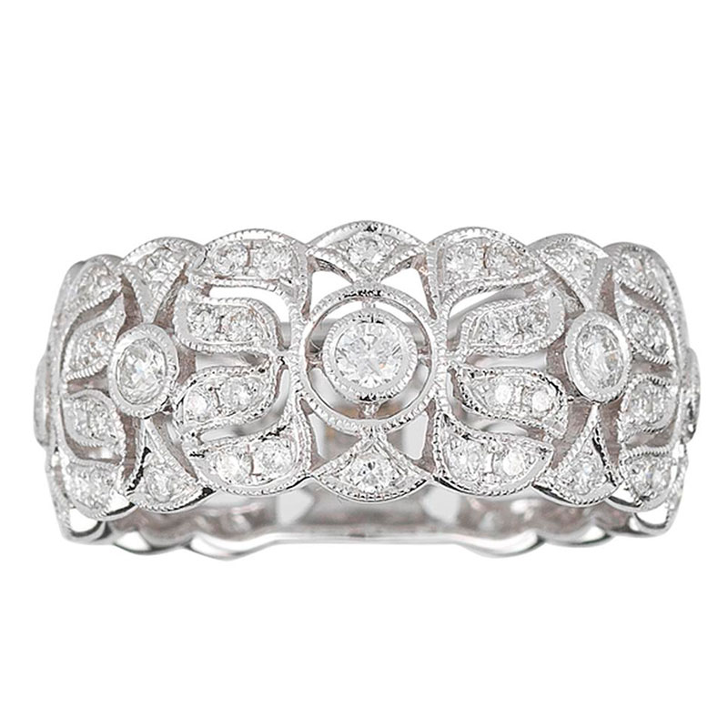 Deutsch Signature Diamond Flower Band with Sizing Bar