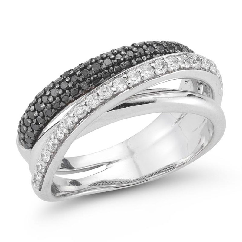 Deutsch Signature Diamond, Black Diamond and Polished Crossover Ring