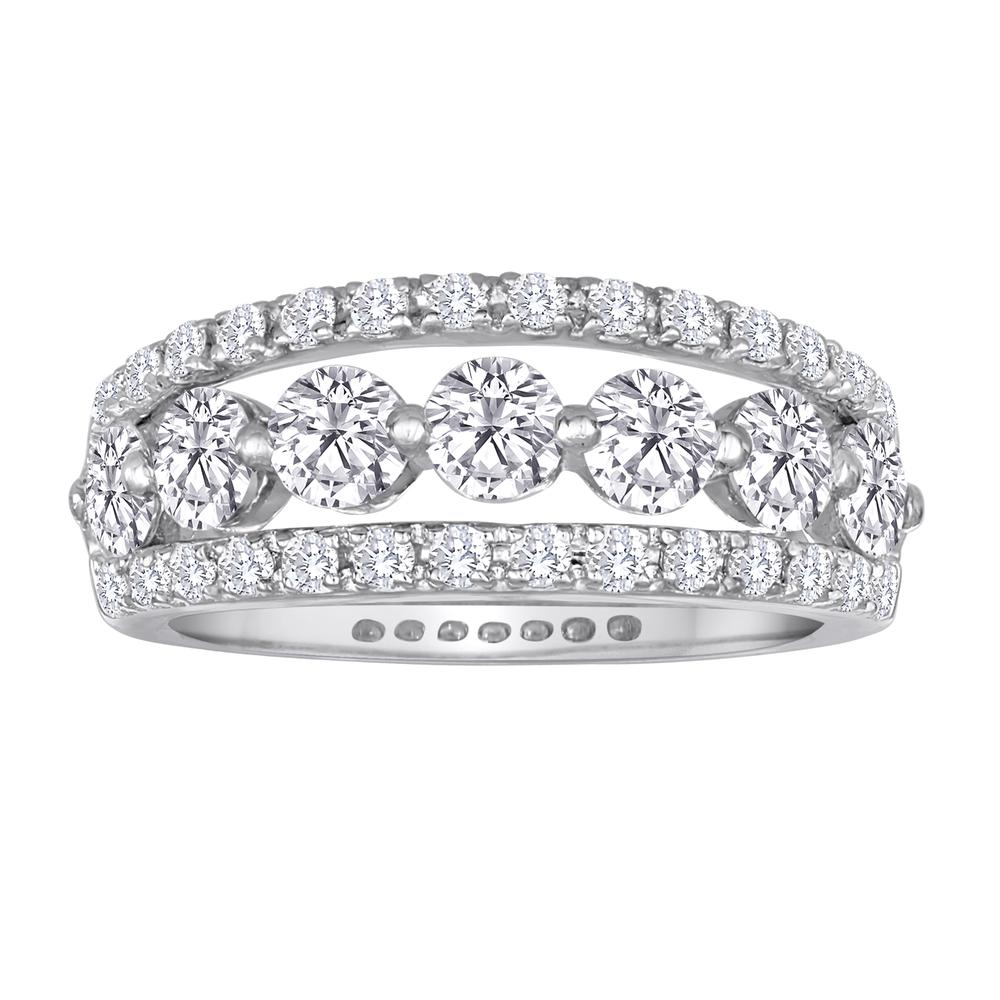 Deutsch Signature Round Diamond Center with Pave Curved Border Ring