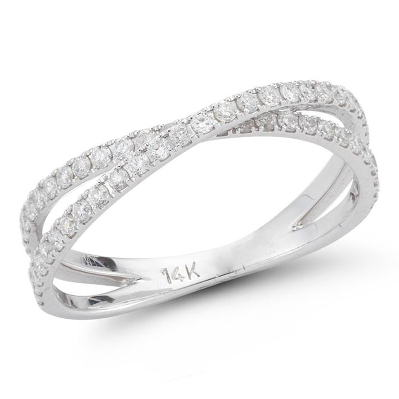 Deutsch Signature Diamond Criss Cross Ring with Split Shank