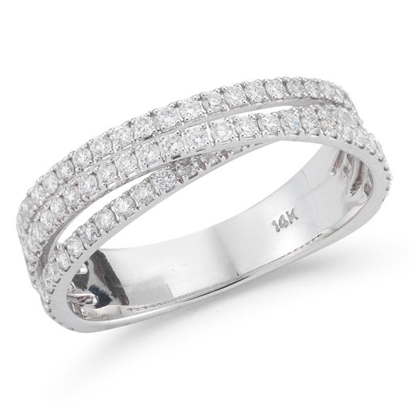 Deutsch Signature 3 Row Diamond Cross Over Ring