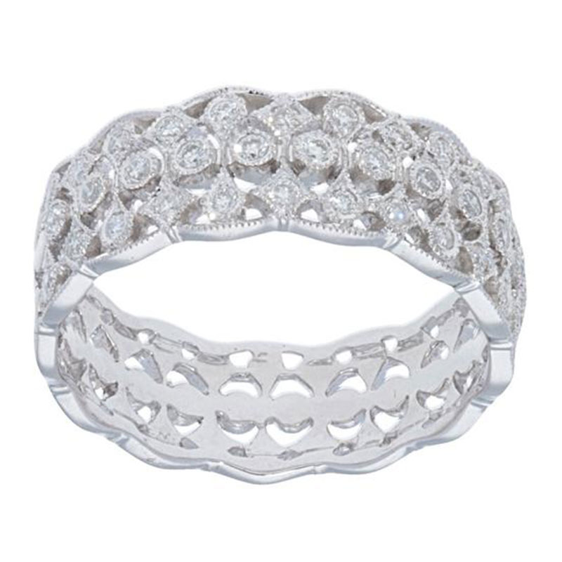 Deutsch Signature 1/2 Way Around Diamond Band w/Scalloped Edges