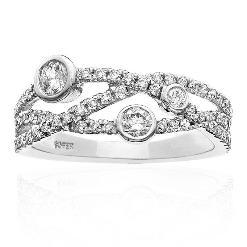 Deutsch Signature 4 Row Interlocking Pave Diamonnd Ring With Diamond Bezels