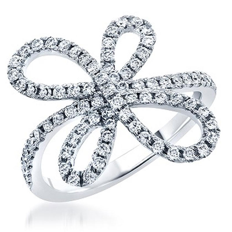Deutsch Signature Diamond Swirly Bow Ring