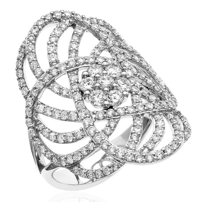 Deutsch Signature Open Pave Diamond with Diamond Cluster in the Center Ring