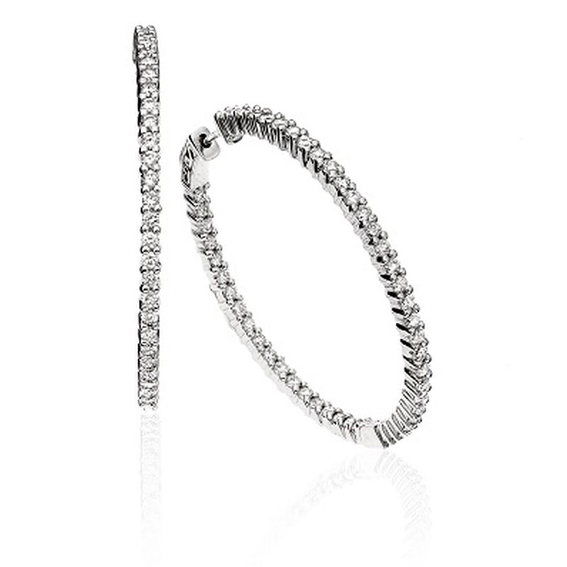 Deutsch Signature Inner and Outer Shared Prong Diamond Hoop Earrings