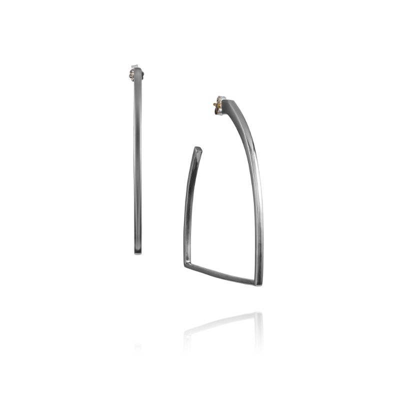 Vincent Peach Sterling Silver Stirrup Hoop Earrings