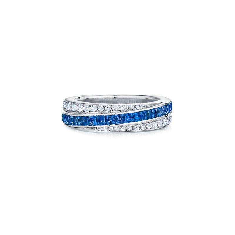 Kwiat Splendor Diamond & Sapphire Stripe Partway Band