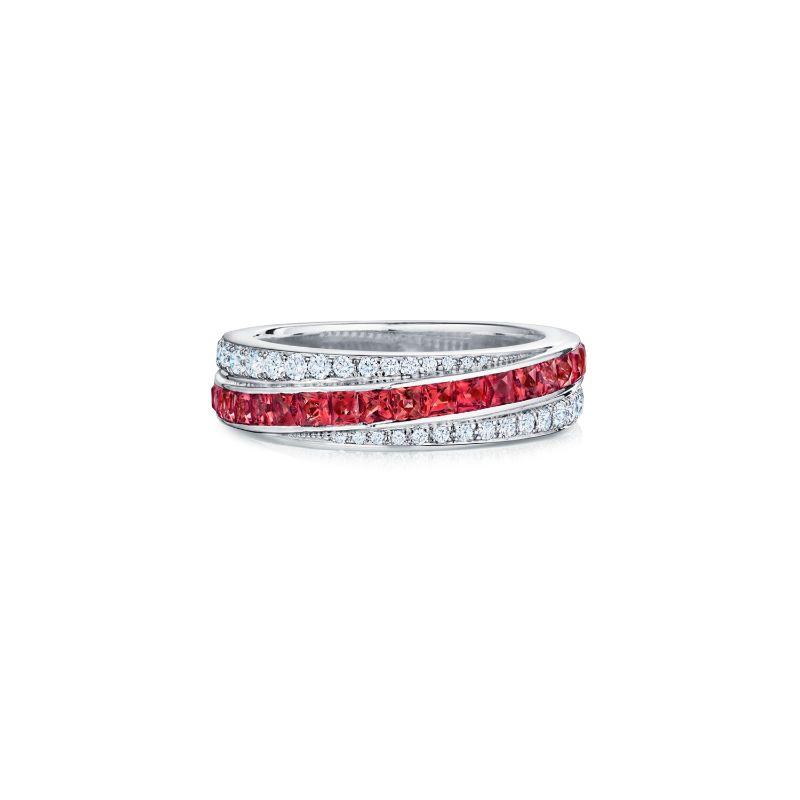 Kwiat Splendor Diamond & Ruby Stripe Partway Band