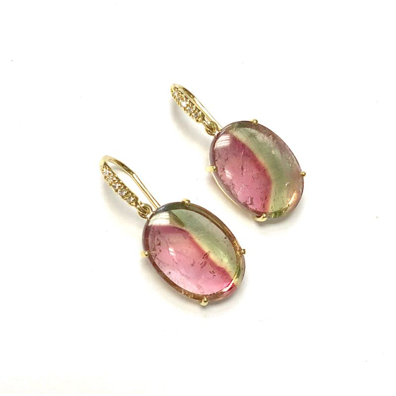 Lauren K Joyce Oval Watermelon Tourmaline Earrings