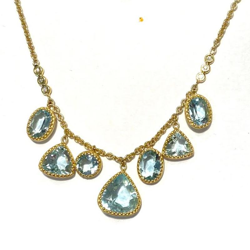 Lauren K Aquamarine Mixed Shape Carly Fringe Necklace