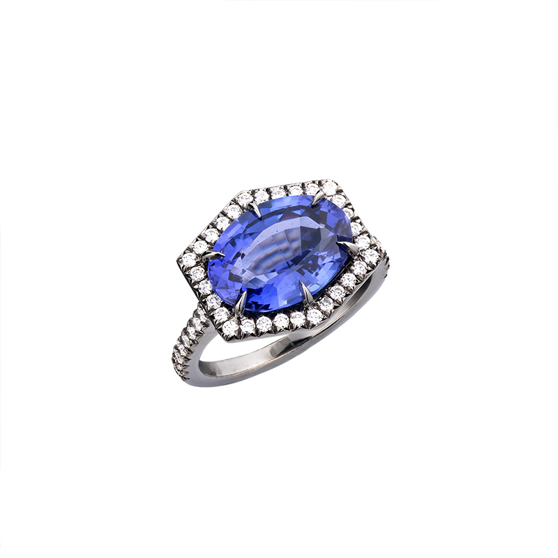 John Apel Sapphire and Diamond Hexagonal Halo Ring