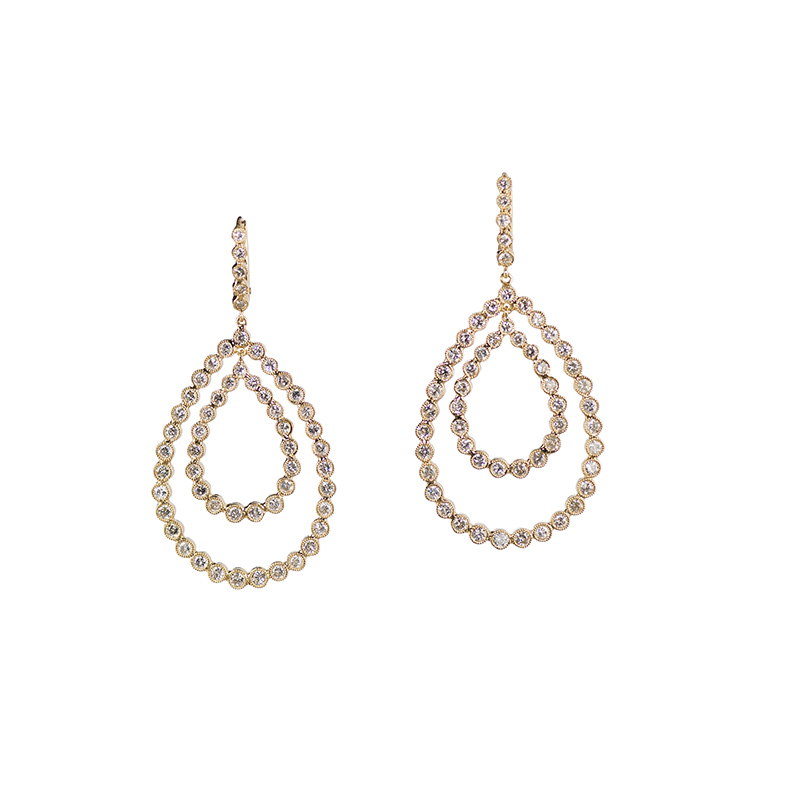 John Apel Bezel Set Diamond Drop Earrings
