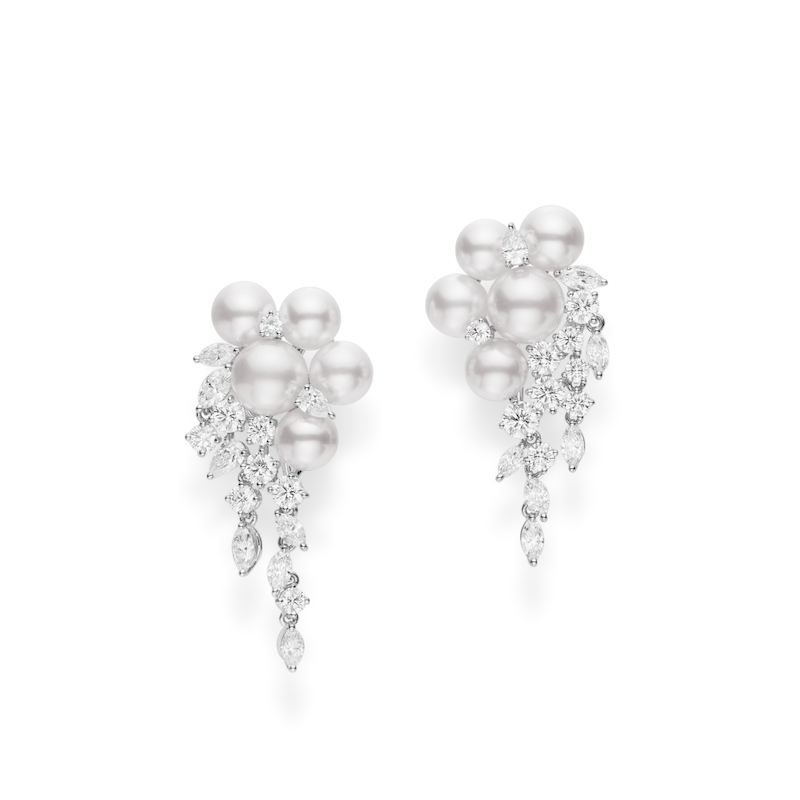 Mikimoto Akoya Pearl and Diamond Cluster Earrings