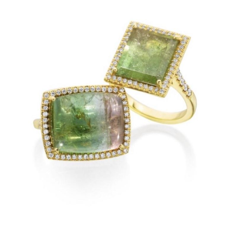 Lauren K Mischa Cushion Shaped Watermelon Tourmaline Ring