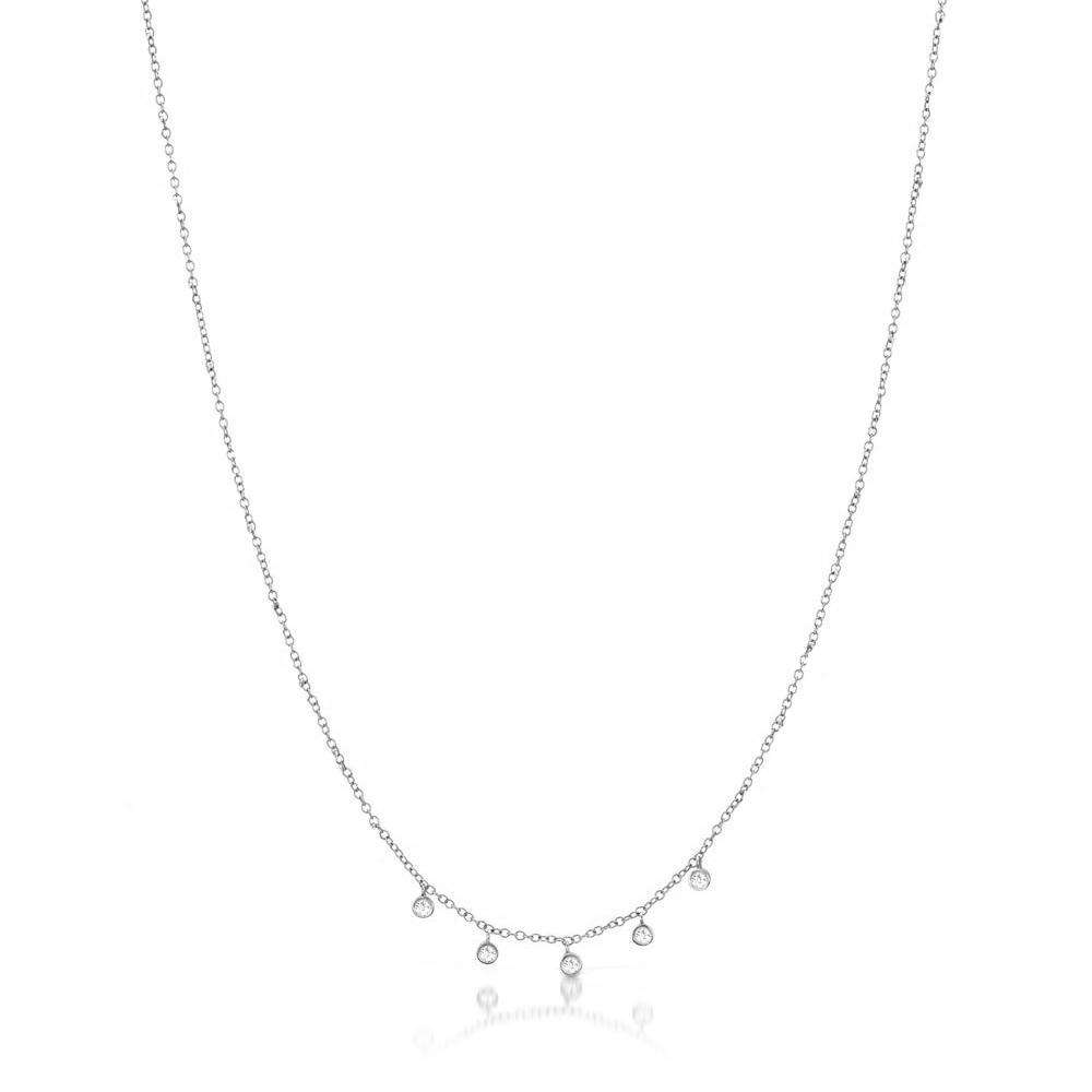 Meira T 14k Gold Necklace with 5 Diamond Bezels